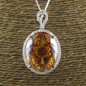 Jewelry - Citrine & Diamond Necklace Pendant 14K WG 58.85Ct